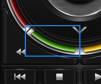 the frame of the green button, showing how it overlaps the down and rewind buttons